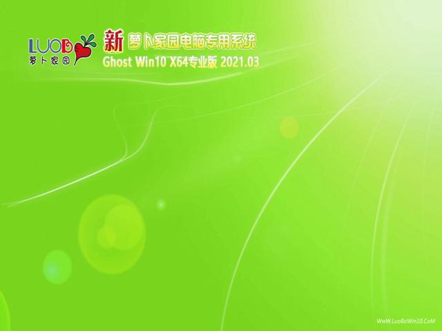 萝卜家园Ghost windows10 X64优化专业版v2021.03系统下载