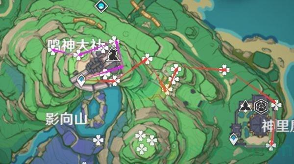 《原神》2.0稻妻版本绯樱绣球采集路线图